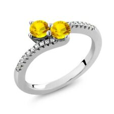 0.96 Ct Round Yellow Sapphire Two Stone 925 Sterling Silver Ring