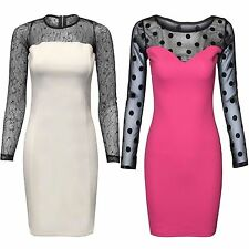 NEW LADIES FLORAL LACE POLKA DOT MESH DRESS WOMENS MIDI BODYCON LONG SLEEVE TOP