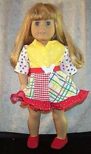 "Doll Clothes fits American Girl 18"" inch Wrap Around Dress Summer Red Yellow NEW"