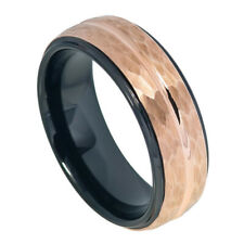 8MM Tungsten Carbide Wedding Band Stepped Hammered Black Rose Gold Tone Ring