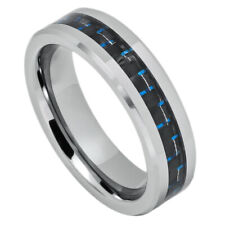 6MM Comfort Fit Tungsten Carbide Wedding Band Carbon Fiber Inlaid Ring