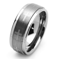 9MM Comfort Fit Tungsten Carbide Wedding Band Cross Engraved Ring /Free Gift Box