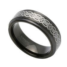 7MM Comfort Fit Tungsten Carbide Wedding Band Black Celtic Knots Flat Ring