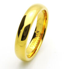 Men 5MM Comfort Fit Tungsten Carbide Wedding Band Polish Domed Gold Tone Ring