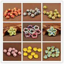 Lots 5Pcs Mixed Czech Glass Oval Loose Big Hole Charm Spacer Beads Jewelry