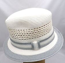 NOS VTG Men's Montique Internationale Trilby Fedora Straw Hat Cream/Grey