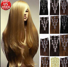Clip In Real Remy 100% Human Hair Extensions Full Head Long Straight 10 colors