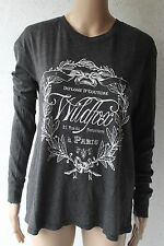WILDFOX COUTURE *NEW*  Charcoal cotton long sleeve Wildfox wreath print top S XS