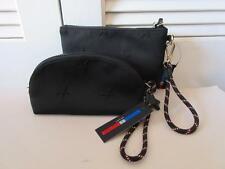 NEW WOMENS TOMMY HILFIGER BLACK MATERIAL MADE ZIP-UP COSMETIC BAG & WRISTLET