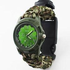 Compass Flint Fire Starter Whistle Camping Gear Paracord Survival Bracelet Watch