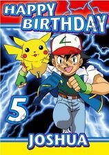 Personalised POKEMON PIKACHU ASH BIRTHDAY CARD ANY NAME - Son Brother Grandson