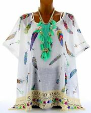 Tunic poncho big size bohemian feathers TIPI WHITE