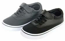 New Boys Black Canvas Tennis Shoes Classic Skate Sneakers Athletic Youth Kids