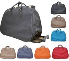 NEW MEN WOMEN HOLIDAY TRAVEL PLAIN LUGGAGE BAG HANDLE WHEELED SUITCASE HOLDALL