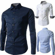 Luxury Mens Casual Shirt Stylish Slim Fit Long Sleeve Casual  Dress Shirts 007