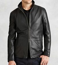John Varvatos Star USA Men's Fitted Leather Black Jacket Zip Front $698 msrp NWT