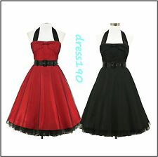 dress190 Halter 50s Rockabilly Party Cocktail Prom Ball Gown Party Dress UK 8-26
