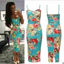 Ladies Womens Strappy Cami Green Floral Print Bodycon Midi Dress Size UK 8-22