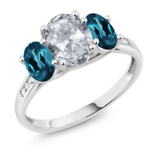 10K White Gold 2.30 Ct Oval White Topaz London Blue Topaz 3-Stone Ring