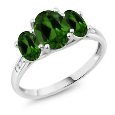 10K White Gold 2.10 Ct Oval Green Chrome Diopside 3-Stone Ring