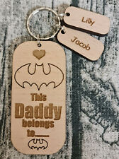PERSONALISED FATHERS DAY GIFT WOODEN KEYRING THIS DADDY BELONGS TO WITH NAME TAG