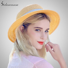 new sedancasesa wide brim sun protect uv sun hat summer boater straw hats beach