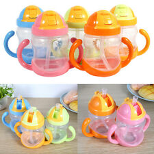 280ml Lovely Baby Training Feeding Bottle Cups With Handles Straw Children Drink
