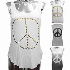 LADIES PEACE PRINT TOP SLEEVELESS VEST TANK TOPS STUD WOMENS SUMMER FESTIVAL