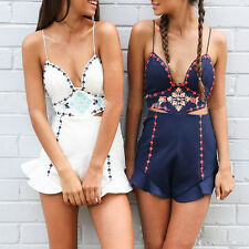 Women High Waist Boho Halter Backless Jumpsuit Summer Romper Shorts Playsuit☀