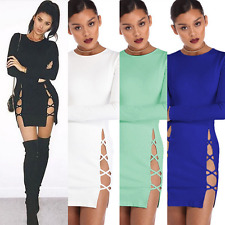 Sexy Women Long Sleeve Bandage Hollow Out Bodycon Dress Party Club Wear Dress