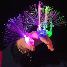 5/10Pcs LED Finger Light Up  Ring Laser Rave Favors Glow Beams Peacock Party Toy