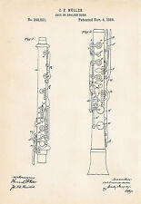 1888 Muller Oboe Drawing Gifts For Oboe Players English Horn Patent Art Print