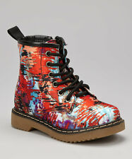 Coco Jumbo Grafitti Patent Jane Boots Big Girls Size 4.5-7 Y