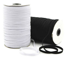 ELASTIC 8 CORD FLAT, 6MM WIDE, AVAILABLE IN BLACK OR WHITE & DIFFERENT LENGTHS