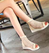 Womens Mesh Open Toe Low Wedge Heels Zip Sandals Ankle Boots Hollow Out Shoes