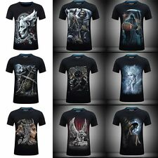 Men's 3D Angel Skull Print Short Sleeve T-shirt Casual Gothic Punk Tee Plus Size