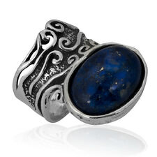 Unique Sterling Silver 925 Ring statement Ring Lapis Blue Ring For Women