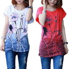 Women Summer Short Sleeves T-Shirts Tops Blouses Cotton Loose Tee Floral Printed