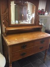 STUNNING VINTAGE EDWARDIAN DRESSING TABLE WITH MIRROR - SHABBY CHIC CHALK PAINT
