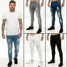 New Mens ENZO Super Stretch Skinny Jeans Ripped Distressed Designer Blue Black