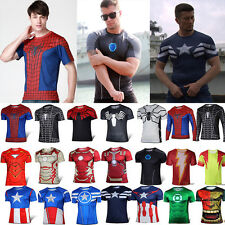 Men's Compression Superhero Marvel Base Layer Running Cycling Tee T-Shirts Tops