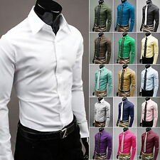 Men Stylish Shirts Casual Formal Slim Fit Long Sleeve Luxury Tee Shirt Top Dress