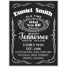 Jack Daniels Sixty 60 Birthday Personalized Chalkboard Sign Photo Prop Poster...
