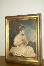 VERY OLD CHIC SHABBY ITALIAN FLORENTINE CHIPPY GILT FRAME GIRL PRINT VINTAGE 30s