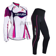 Women Cycling Bicycle Bike Clothes Long Sleeve Jersey Pants Trousers Set Paded