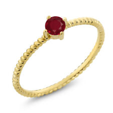 10K Yellow Gold 0.22 Ct Round Red Ruby Engagement Solitaire Ring