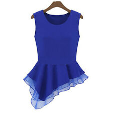 Women Summer Vest T-Shirt Chiffon Sleeveless Tops Blouse Frill Irregular 1 PCS