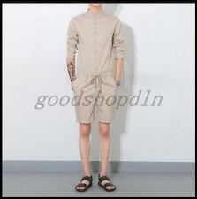 New Mens 3/4 Sleeve Slim Fit Jumpsuit Overalls Pants Summer Causal Trouser Suits