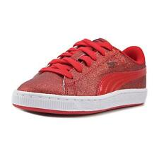 Puma Basket Holiday Glitz PS Youth  Round Toe Canvas Red Sneakers NWOB
