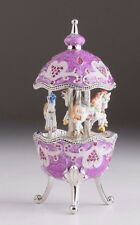 Purple Easter Egg Horse Carousel Trinket Box by Keren Kopal music box w/ crystal